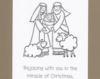 Holy Family - Color Your Own Christmas Cards - Set of 4 - Children's Religious Cards
