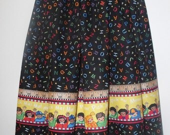 SALE! Girl's skirt, modest, back to school ABCs and 123s border print