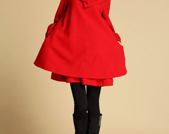 Red Wool dress, Mini Dress,tunic dress, tunic top, Red dress, Swing dress, Layered Dress, Big Collar, womens dresses, long sleeve tunic 349