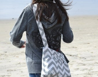Womens camera bags, made in the USA by Darby Mack Grey Chevron stripe, cotton, washable, best seller!  Lightweight & durable