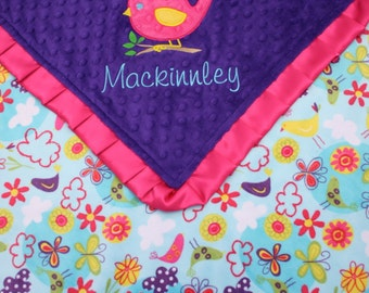 Baby Blanket Personalized - Birds and Flowers Minky and Dark Purple Minky with Hot Pink Satin Ruffle and Bird Applique- Girl