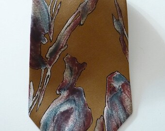 Vintage Neckties Men's 70's Silk, Wembley, Gold, Abstract, Printed Tie