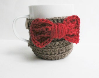 Coffee Cozy, Tea Cup Cozy, Eleventh Doctor, red, brown, bow tie, sci fi, Doctor who, Matt smith, nerd, sleeve, mug warmer, gift for her