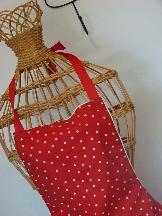 Red Polka dot full apron- On size Fits most