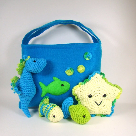Sea Creatures Crochet Play Set - Sea Horse, Starfish, Two Fish with Felt Storage Bag