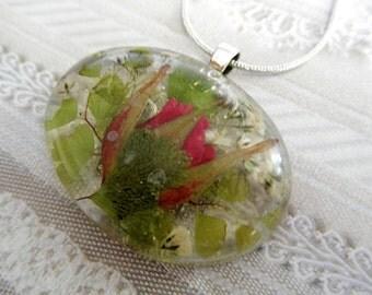True Love-Red Rosebud, Baby's Breath, Ferns Pressed Flower Resin Pendant-Gifts Under 30-Wearable Art-Symbolizes True Love