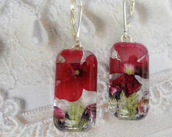 Enchanted-Rich Red Verbena and Pink Veronica Pressed Flower Domed Glass Leverback Rectangle Earrings-Symbolizes Enchantment