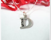 Initial Letter Charm Necklace - Mommy Necklace - Hand Stamped Alphabet Sterling Silver - Kids Name Birthdate Jewelry - CharitableCreations