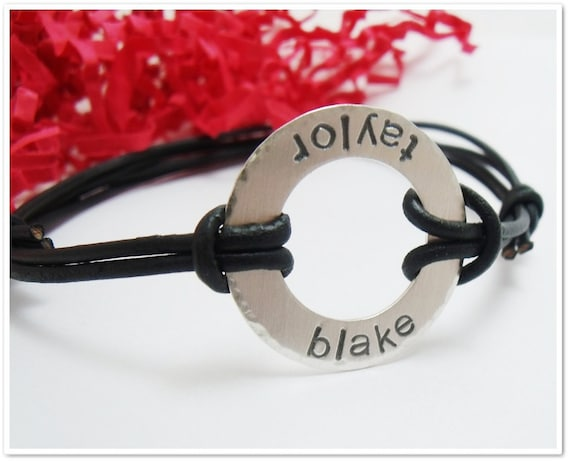 Sterling and Leather Bracelet for Men - Sterling Silver  Washer with Adjustable Leather Cord- Fathers Day - Gifts for Dad