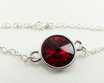 January Birthstone Bracelet Sterling Silver Chain Bracelet Dark Red Crystal Jewelry Garnet Bracelet Blood Red Crystal Bracelet