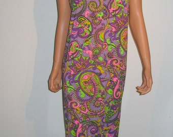 LeVoy's, Psychedelic print, Flower Child, Hippie long Dress.  VINTAGE 1970