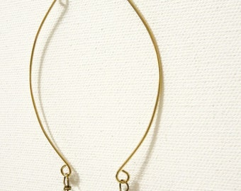 Long Golden Crystal Earrings with Curve- Chandelier Crystal on brass