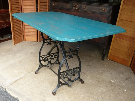 Farm Table Upcycled Handcrafted with Wrought Iron Base Vintage Poppy Cottage