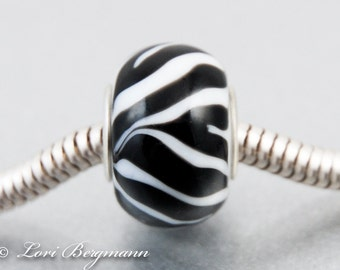 Zebra European Charm Bead, Animal Print, Black White, BHB, Handmade Lampwork
