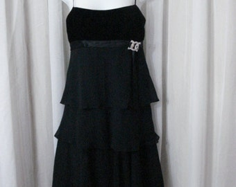 Black Party Dress Vintage Velvet Chiffon Tulip Tiered Chic Lolita Cocktail Evening Dress SM