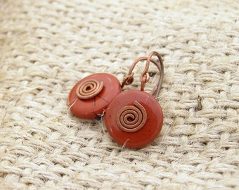 Red jasper round flat jasper gemstone casual earrings jasper with copper spirals made in Israel