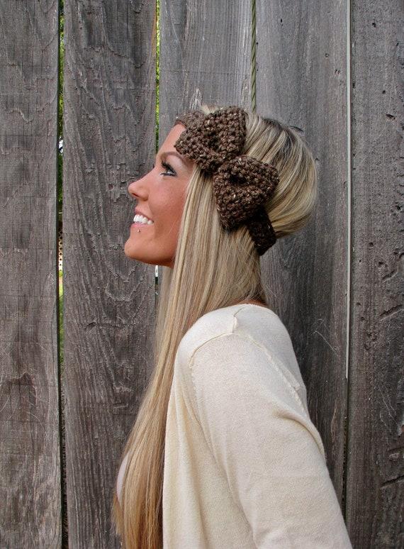 Barley Crochet Bow Headband w/ Natural Vegan Coconut Shell Buttons Adjustable Hair Band Girl Woman Teen Head Wrap Cute Knit Accessories