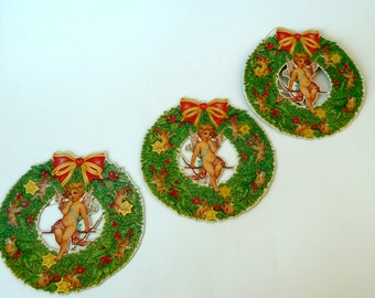 Cardboard WREATH  Ornaments - Victorian Style - Christmas - Recycle - 3 - Eco Friendly - Cupid - Angels - Gift Tags - Shackman - 1980s