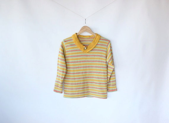 Vintage 60s Sweet Striped Cozy Holiday Sweater // Mustard With Brooch