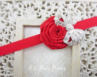 Red Flower Headband, Red Satin Rose w/ Crystal Bow Headband, Baby Headband, Christmas Hair Clip, Infant Toddler Child Girls Headband Adult