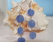 Earrings - Fabulous, faceted opaque cornflower blue quartz discs dangle 2.25""