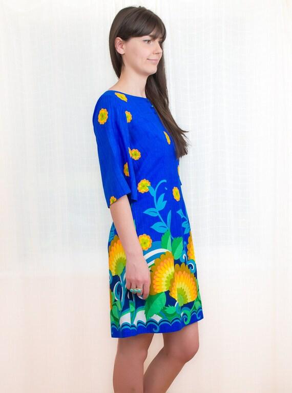1960s Dress - 60s Floral Mini Dress - Hawaiian Blue and Yellow Dress - S / M