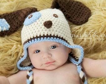 Baby Dog Hat - Baby Boy Puppy Hat - Newborn Boy Puppy Hat - Crochet Newborn Boy Puppy Hat - Baby Dog Baby Shower Gift - New Baby Pictures