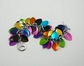 Chain maille scale maille bracelet confetti multicolored anodized aluminum scale statement bracelet