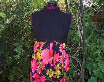 1960s Maxi Dress - Floral Maxi Dress - Mod Maxi Dress - 1970s Maxi Dress - 60s Maxi Dress - 70s Maxi Dress - ILGWU Union Label