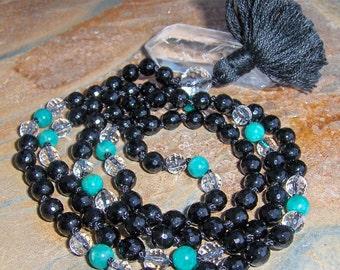 Black Onyx, Amazonite & Crystal Mala, Prayer Beads