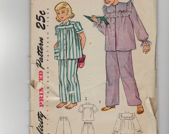 Vintage 50's Girl's Pajama sewing pattern.   Simplicity.  Size 8.   No. 2599.