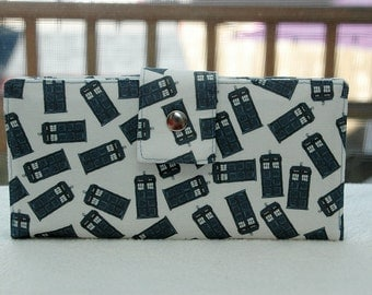 Women's Wallet, police call boxes, dr. who,  custom handmade vegan wallet cotton blue