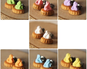 Rainbow Iced Gem Biscuit - Earring Posts