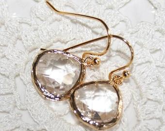 Crystal Drop Earring Bridal Earrings Gold April Earrings Crystal Earring bezel set earrings Christmas Gift Wedding Earrings Etsy Gift Idea