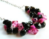 ON SALE, Pink and Black Chunky Necklace, Crystal ACRYLIC, Bridesmaid Necklace, Pink and Black Wedding Jewelry