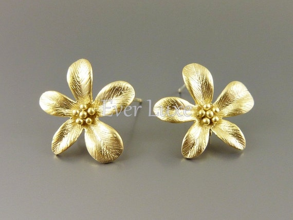 2 Large blossomed flower earrings, matte gold earrings, earring components for jewelry making / supplies 1583-MG (matte gold, 2 pieces)