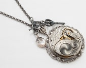 Steampunk Necklace Vintage Engraved Elgin Watch Movement with Genuine Pearl, Silver Filigree & Skeleton Key Victorian Statement Necklace