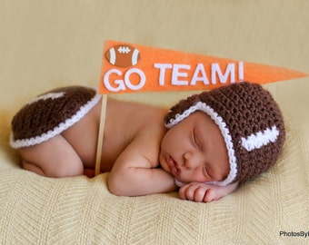 Baby Hat CROCHET PATTERN pdf Football Baby Hat and Bum Cover SET