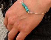 Elegant Bangle Bracelet w/h Turquoise Gemstones. Sterling Silver Beaded Bangle