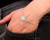 Sterling Silver Bangle with Flower. Turquoise Rose Bangle Bracelet. Elegant Bangle