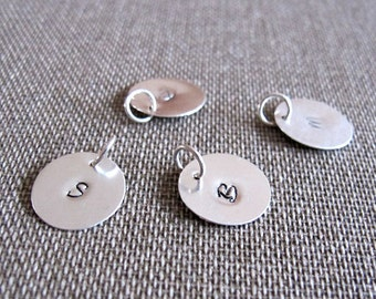 Elegant Hand Stamped Charm - Initial Charm - Personalized Sterling Silver Add On - Necklace Pendant  Disc