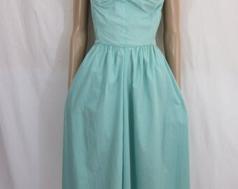 1940s Aqua Strapless Sundress with Jacket