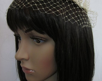 1960s Cream Bridal Hat with Sequins and Netting