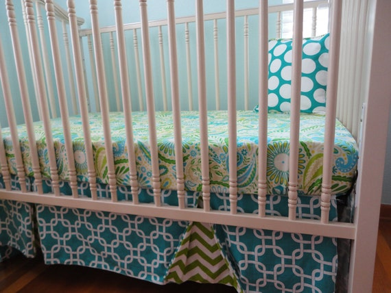 Reserved for TuckerStacey- Ready to Ship- Peek a Boo Crib Skirt