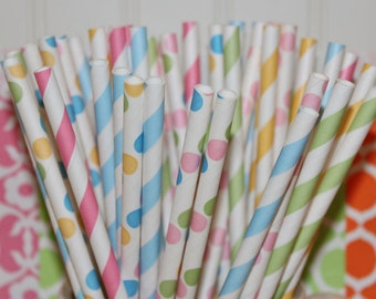 Paper Straws, 30 Birthday Cake Paper Straw Mix, Paper Drinking Straws,  Kids Birthday Party, Baby Shower, Party Paper Straws, Drinking Straw