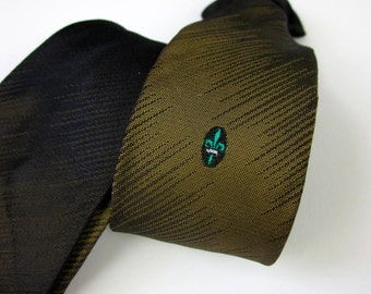 "Vintage 1980s Boys Necktie / 80s Does 50s Childs Redi-Snap 14.5"" Clip-On Tie / Ombre Moss Green Black, Fleur-de-lis, Retro Rockabilly Style"