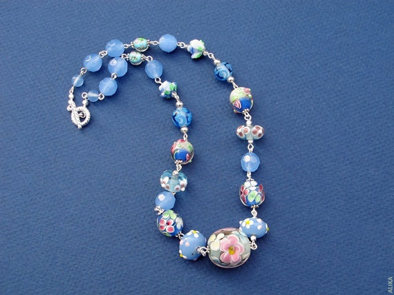 Lampwork Beads Necklace, Blue  Pink Silver, Short,  Summer, Large Focal Flower Bead