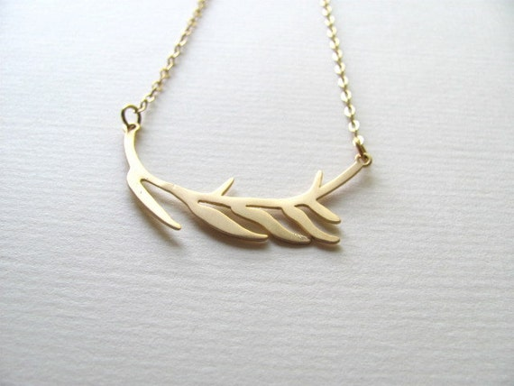 Delicate gold abstract branch pendant necklace on 14k gold plate chain