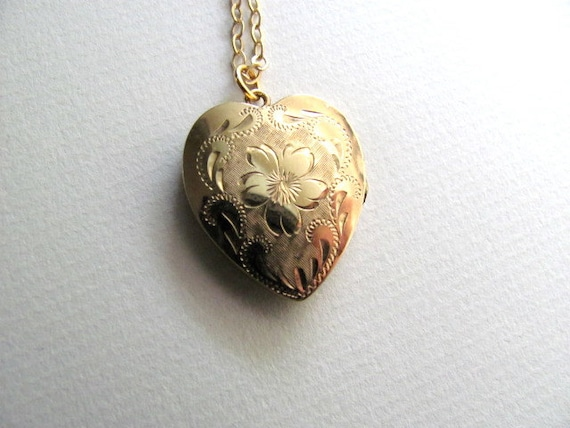 Beautiful gold vintage heart locket on delicate 14k gold plated chain