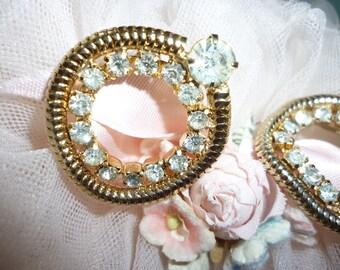 Vintage Coro Gold Rhinestone Earrings ~  Screw back Earrings ~ Vintage Costume Jewelry ~ Gift For Her ~ Signed Earrings ~ Rhinestones